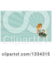 Retro Revolution Male Worker Holding Up A Torch And Emerging From A Circle And Turquoise Rays Background Or Business Card Design