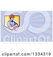 Retro Contractor Rolling Up His Sleeves And Pastel Purple Rays Background Or Business Card Design