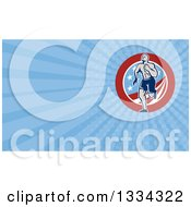 Clipart Of A Retro Crossfit Athlete Man Running Over An American Circle And Blue Rays Background Or Business Card Design Royalty Free Illustration