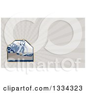 Clipart Of A Retro Drainage Cleaner And Rays Background Or Business Card Design Royalty Free Illustration