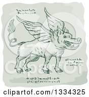 Clipart Of A Retro Sketched Winged Wild Boar With Manuscript Cypher Text Code Royalty Free Vector Illustration
