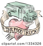 Clipart Of A Retro Sketched Food Truck With A Banner And Fork Through A Heart Royalty Free Vector Illustration