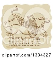 Clipart Of A Retro Sketched Griffin Battling A Snake With Manuscript Cypher Text Code Royalty Free Vector Illustration