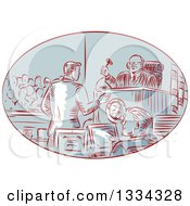 Clipart Of A Retro Sketched Courtroom Scene With A Judge Defendant Prosecuter Jury And Attorney Royalty Free Vector Illustration