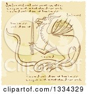 Clipart Of A Sketched Dragon Holding A Sword With Cypher Text Code Royalty Free Vector Illustration