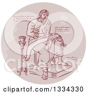 Clipart Of A Retro Sketched Evangelist Prophet Or Saint Writing On A Paper Scroll With Manuscript Cypher Text Code In A Circle Royalty Free Vector Illustration