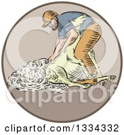 Retro Sketched Farmer Shearing A Sheep In A Circle