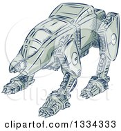 Clipart Of A Retro Sketched Battle Mecha Robot Royalty Free Vector Illustration