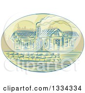 Clipart Of A Retro Sketched Log Cabin With Smoke Rising From The Chimney In An Oval Royalty Free Vector Illustration