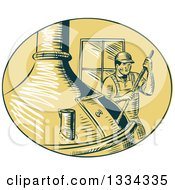 Clipart Of A Retro Sketched Brewmaster Stirring Beer In A Kettle Royalty Free Vector Illustration