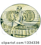 Clipart Of A Sketched Male Brewmaster Stirring Beer Brew In A Kettle Barrel Royalty Free Vector Illustration