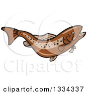 Clipart Of A Cartoon Swimming Or Jumping Brown Trout Fish Royalty Free Vector Illustration