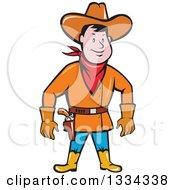 Cartoon Caucasian Cowboy Standing And Ready To Draw A Gun