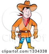 Clipart Of A Cartoon Caucasian Cowboy Standing And Ready To Draw A Gun Royalty Free Vector Illustration