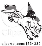 Cartoon White Flying Winged Pegasus Horse