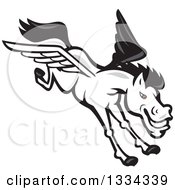 Clipart Of A Cartoon White Flying Winged Pegasus Horse Royalty Free Vector Illustration