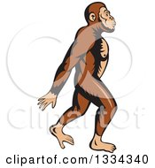 Clipart Of A Cartoon Neanderthal Man Walking To The Right Royalty Free Vector Illustration by patrimonio