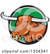 Clipart Of A Cartoon Texas Longhorn Steer Bull In A Black White And Green Circle Royalty Free Vector Illustration