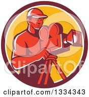 Clipart Of A Retro Red Male Cameraman In A Maroon White And Yellow Circle Royalty Free Vector Illustration