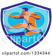 Clipart Of A Retro Orange Male Track And Field Athlete Running And Leaping Hurdles In A Blue And White Shield Royalty Free Vector Illustration by patrimonio