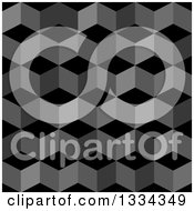 Clipart Of A 3d Seamless Geometric Background Of Cubes In Grayscale Royalty Free Vector Illustration