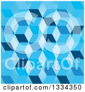 Clipart Of A 3d Seamless Geometric Background Of Cubes In Blue Royalty Free Vector Illustration