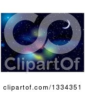 Clipart Of A Starry Outer Space Background With A Crescent Moon Colorful Nebula And Stars Royalty Free Vector Illustration