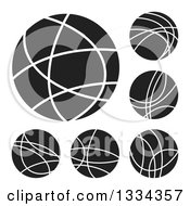 Clipart Of Black And White White Connected Internet Worlds With Lines And Hot Spots Royalty Free Vector Illustration