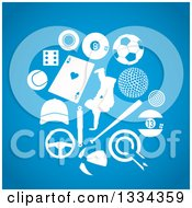 Clipart Of White Sports Icons On Blue Royalty Free Vector Illustration