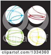 Clipart Of White Connected Internet Worlds With Colorful Lines And Hot Spots Over Black Royalty Free Vector Illustration