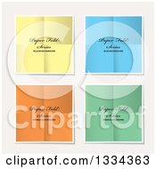 Clipart Of Pieces Of Colorful Folded Papers With Sample Text On Off White Royalty Free Vector Illustration