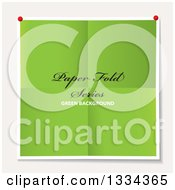 Clipart Of A Piece Of Pinned Folded Green Paper With Sample Text On Off White Royalty Free Vector Illustration