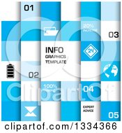 Clipart Of A Blue And White Squre Infographics Template Background With Text And Icons Royalty Free Vector Illustration by michaeltravers