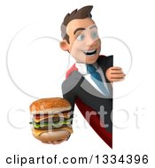 Clipart Of A 3d Happy Young White Super Businessman Holding A Double Cheeseburger And Looking Around A Sign Royalty Free Vector Illustration