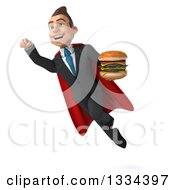 Clipart Of A 3d Happy Young White Super Businessman Flying And Holding A Double Cheeseburger Royalty Free Vector Illustration