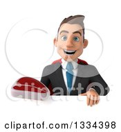 Clipart Of A 3d Happy Young White Super Businessman Holding A Beef Steak Over A Sign Royalty Free Vector Illustration