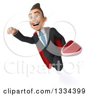 Clipart Of A 3d Happy Young White Super Businessman Flying With A Beef Steak Royalty Free Vector Illustration