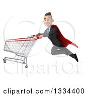 Clipart Of A 3d Happy Young White Super Businessman Flying With A Shopping Cart Royalty Free Vector Illustration