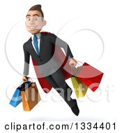 Clipart Of A 3d Happy Young White Super Businessman Flying With Shopping Bags Royalty Free Vector Illustration