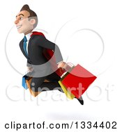 Clipart Of A 3d Happy Young White Super Businessman Flying To The Left With Shopping Bags Royalty Free Vector Illustration