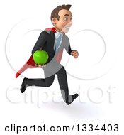 Clipart Of A 3d Happy Young White Super Businessman Sprinting To The Right And Holding A Green Apple Royalty Free Vector Illustration