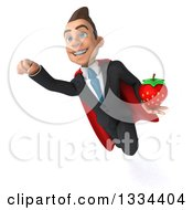 Clipart Of A 3d Happy Young White Super Businessman Flying With A Strawberry Royalty Free Vector Illustration