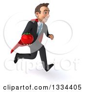 Clipart Of A 3d Happy Young White Super Businessman Sprinting To The Right And Holding A Tomato Royalty Free Vector Illustration