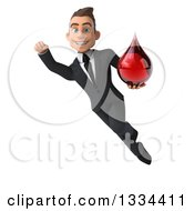 Clipart Of A 3d Happy Young White Businessman Flying With A Blood Drop Royalty Free Vector Illustration