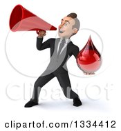 Clipart Of A 3d Happy Young White Businessman Holding A Blood Drop And Announcing To The Left With A Megaphone Royalty Free Vector Illustration