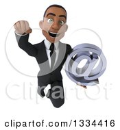 Clipart Of A 3d Happy Young Black Businessman Flying And Holding An Email Arobase At Symbol Royalty Free Vector Illustration