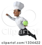 Clipart Of A 3d Young Black Male Chef Flying To The Left With A Green Apple Royalty Free Vector Illustration