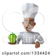 Clipart Of A 3d Young Black Male Chef Holding A Green Bell Pepper Over A Sign Royalty Free Vector Illustration