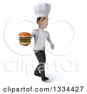 Clipart Of A 3d Young Black Male Chef Walking Slightly To The Right And Holding A Double Cheeseburger Royalty Free Vector Illustration