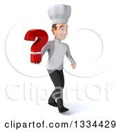 Clipart Of A 3d Young White Male Chef Walking To The Right And Holding A Question Mark Royalty Free Vector Illustration